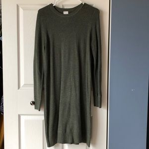 A New Day waffle knit sweater dress, dark green, L
